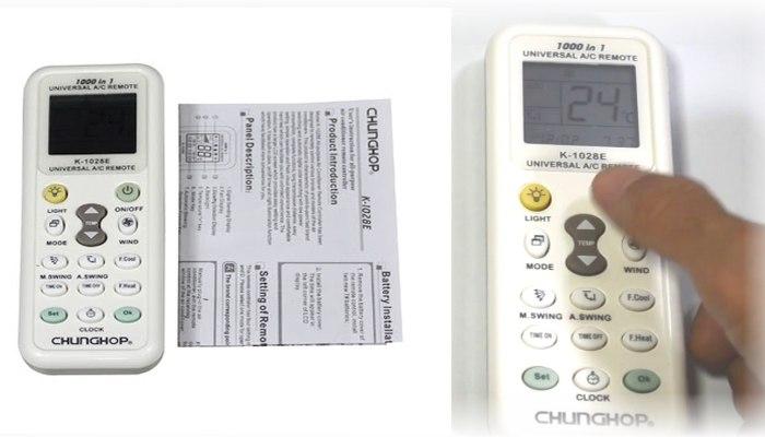 Cara Setting Remote AC Universal : Merk Chunghop type K-1028E
